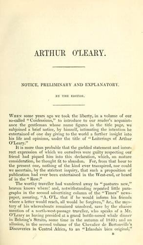 Arthur O'Leary: his wanderings and ponderings in many lands by Charles James Lever