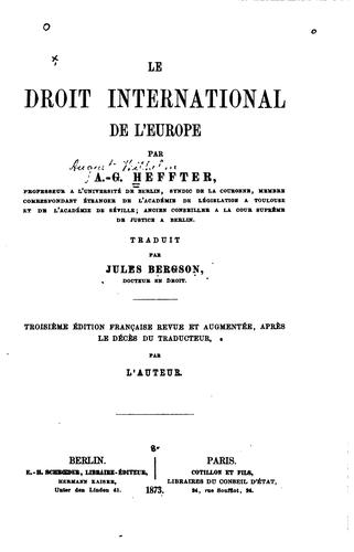 Le droit international de l'Europe by Jules Bergson