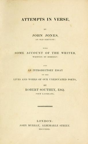 Attempts in verse by Jones, John