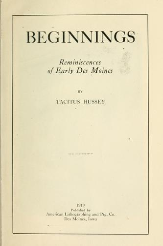 Beginnings by Tacitus Hussey
