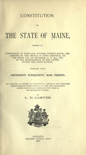 Constitution of the State of Maine by Maine