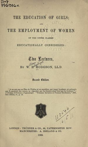 The education of girls by William Ballantyne Hodgson