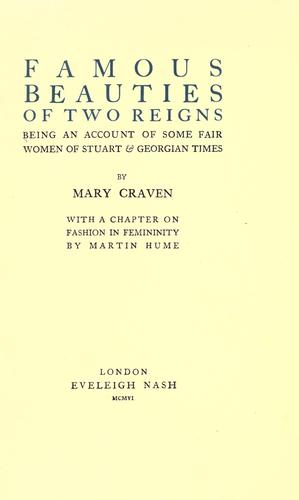 Famous beauties of two reigns by Mary Craven