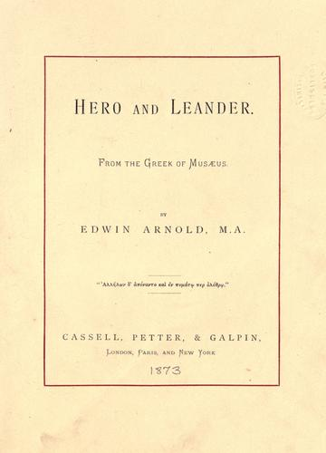 Hero and Leander by Musaeus Grammaticus