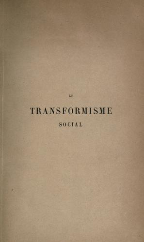Le transformisme social;Paris by Guillaume Joseph de Greef