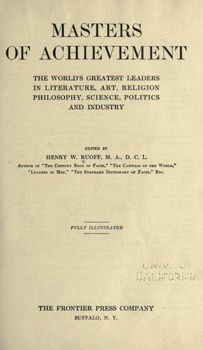 Masters of achievement by Ruoff, Henry W.