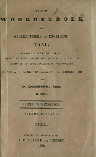 New dictionary of the English and Dutch language by D. Bomhoff