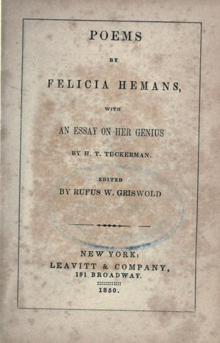 Poems by Felicia Hemans by Felicia Dorothea Browne Hemans