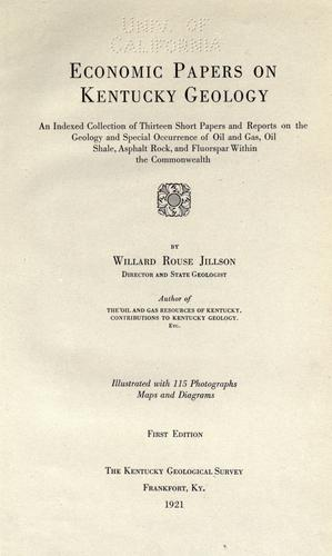Economic papers on Kentucky geology by Willard Rouse Jillson