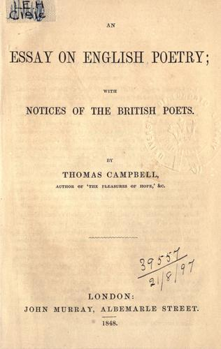 An essay on English poetry