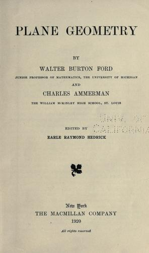 Plane geometry by Walter Burton Ford