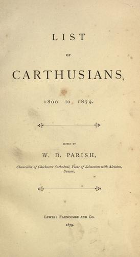List of Carthusians, 1800-1879 by